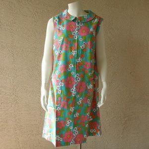 NWOT VTG Cotton Twill Zip House Dress Lounger